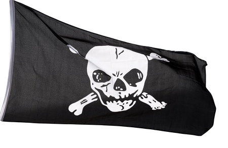 Jolly Roger  pirate flag  isolated on white background photo