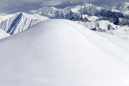 freeride: View from ski slopes  Caucasus Mountains, Georgia, ski resort Gudauri