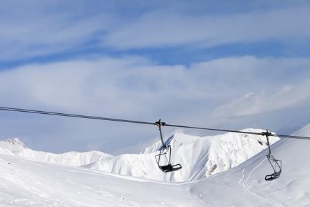 Chair lift at ski resort  Caucasus Mountains, Georgia, Gudauri  photo