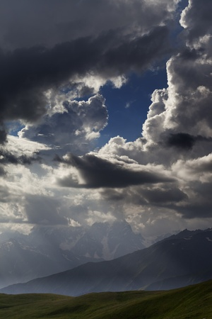 Mountains in clouds  Caucasus Mountains  Georgia, Svaneti Stock Photo - 13485810