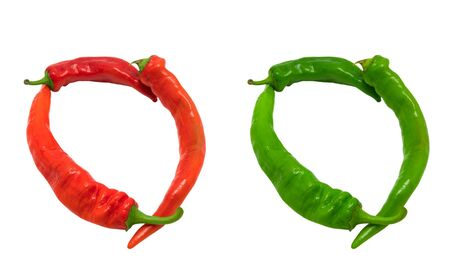 Letter O composed of green and red chili peppers  Isolated on white background photo
