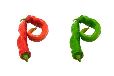 close p: Letter P composed of green and red chili peppers  Isolated on white background