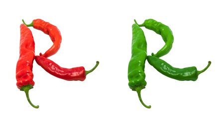 Letter R composed of green and red chili peppers  Isolated on white background photo