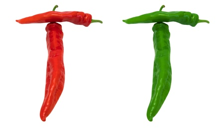 Letter T composed of green and red chili peppers  Isolated on white background photo