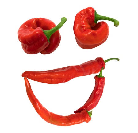 Smile  grin  composed of red chili peppers  Isolated on white background