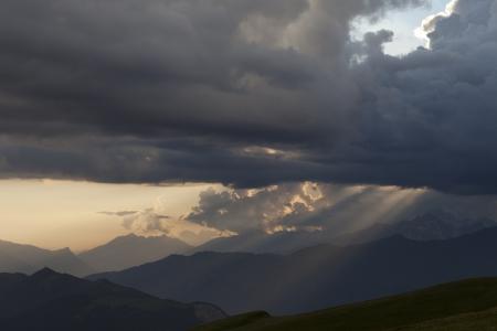 svaneti: Silhouettes of mountains in clouds  Caucasus Mountains  Georgia, Svaneti