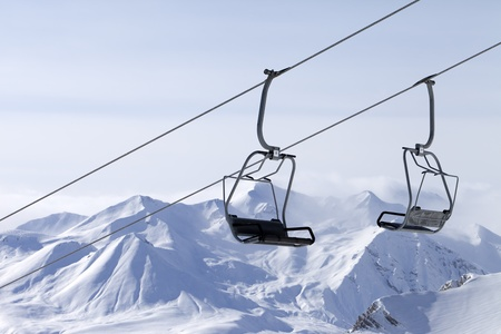 Ropeway at ski resort  Caucasus Mountains, Georgia, Gudauri  photo