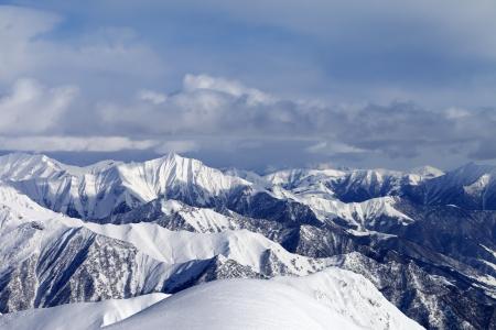 View from ski slopes  Caucasus Mountains, Georgia, Gudauri  photo