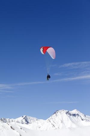 Speed Flying in Caucasus Mountains. Georgia, ski resort Gudauri.