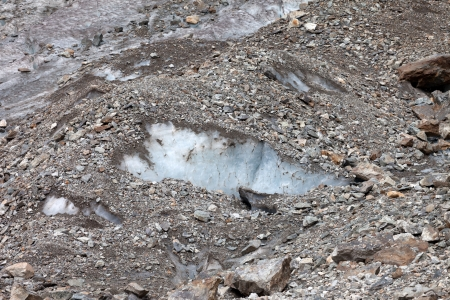 crevasse: Crevasse in glacier. Close-up view.