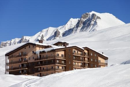 Hotel in winter mountains. Caucasus Mountains, Georgia. Ski resort Gudauri.