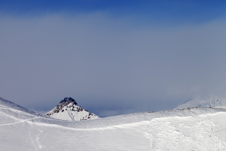 offpiste: Off-piste slope and trace of avalanche  Caucasus Mountains, Georgia, ski resort Gudauri