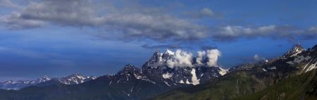 svaneti: Panorama of summer mountains  Caucasus Mountains  Georgia, Svaneti
