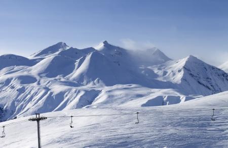 caucasus: View on ski resort in evening  Georgia, Gudauri  Caucasus Mountains  Stock Photo