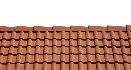 terracotta: Roof tiles isolated on white background