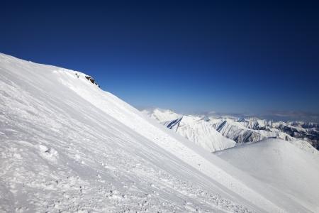 offpiste: Off-piste slope  Caucasus Mountains, Georgia, ski resort Gudauri