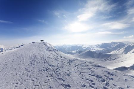 caucasus: Top station of ropeway on ski resort  Caucasus Mountains, Georgia, Gudauri  Stock Photo