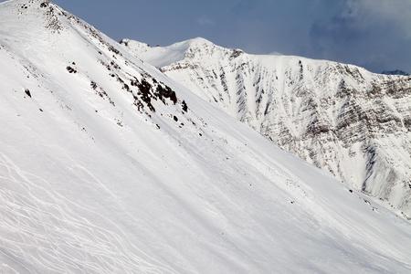 offpiste: Ski slope, off-piste  Caucasus Mountains, Georgia, ski resort Gudauri