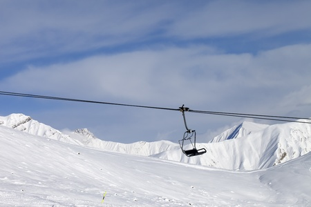 chair lift: Chair lift at ski resort  Caucasus Mountains, Georgia, Gudauri  Stock Photo