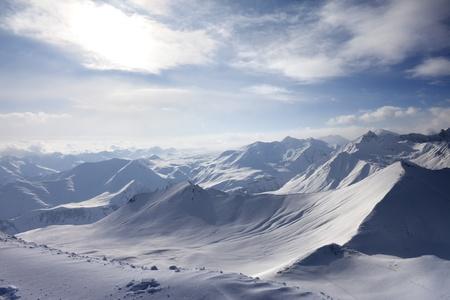 offpiste: View of off-piste slope  Caucasus Mountains, Georgia, ski resort Gudauri