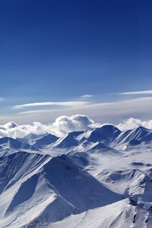 blue ridge: Snow-capped mountains  Caucasus Mountains, Georgia  View from ski resort Gudauri  Stock Photo