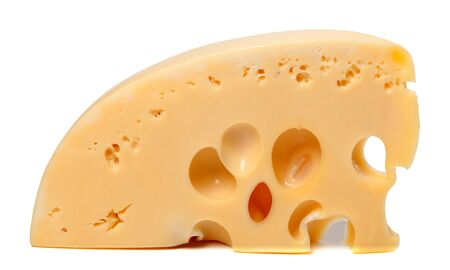 Piece of cheese on white background  Close-up view  photo