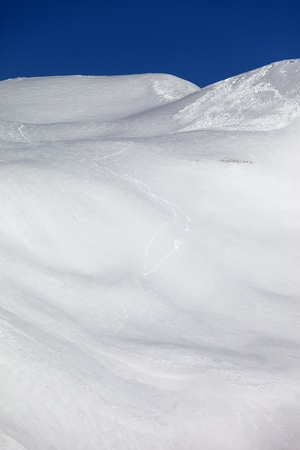 off piste: Avalanche on off piste slope  Caucasus Mountains, Georgia, ski resort Gudauri  Stock Photo