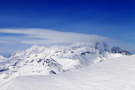 offpiste: View on off-piste slope  Caucasus Mountains, Georgia, ski resort Gudauri  Stock Photo