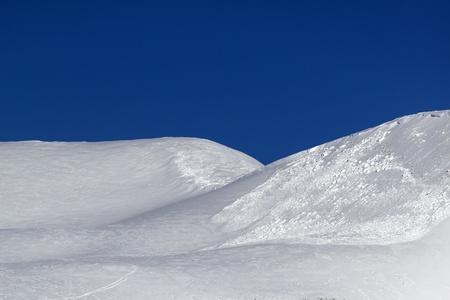 offpiste: Trace of avalanche on off-piste slope  Caucasus Mountains, Georgia, ski resort Gudauri
