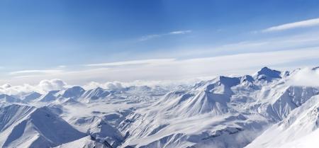 Panorama of winter mountains in nice day  Caucasus Mountains, Georgia, Gudauri  View from ski slope