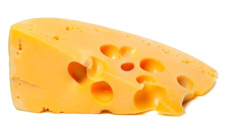 Piece of cheese on white background  Close up view Stock Photo - 16664444