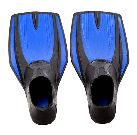 Blue swim fins isolated on white background Stock Photo - 17312516