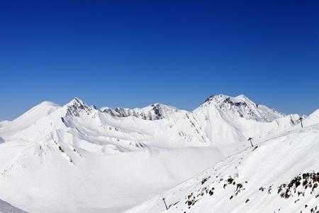 offpiste: Ropeway and off-piste slope  Caucasus Mountains, Georgia, ski resort Gudauri