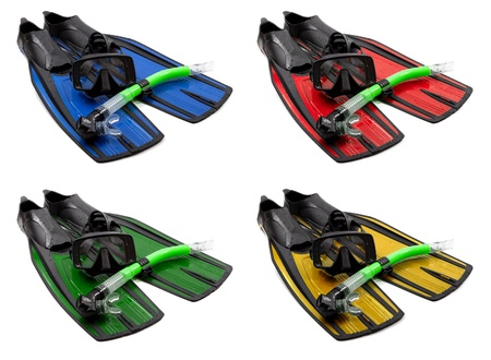 flippers: Set of multicolored mask, snorkel and flippers on white background