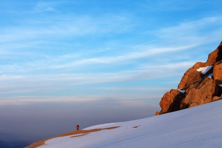 Hiker in sunrise mountains  Turkey, Central Taurus Mountains, Aladaglar  Anti-Taurus   photo