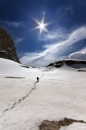 Hiker in snowy mountains  Turkey, Central Taurus Mountains, Aladaglar  Anti-Taurus , plateau Edigel  Yedi Goller  photo