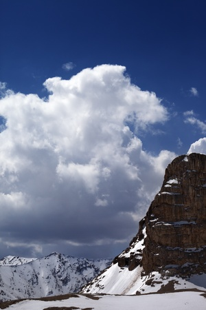Snowy rocks in clouds  Turkey, Central Taurus Mountains, Aladaglar  Anti-Taurus  view from plateau Edigel  Yedi Goller  photo