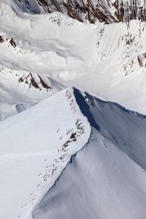 offpiste: Top view on off-piste slope. Caucasus Mountains, Georgia, ski resort Gudauri. Stock Photo