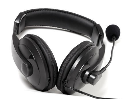 Headphones with microphone on white background Stock Photo - 20911827
