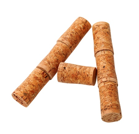 Letter A composed of wine corks  Isolated on white background photo