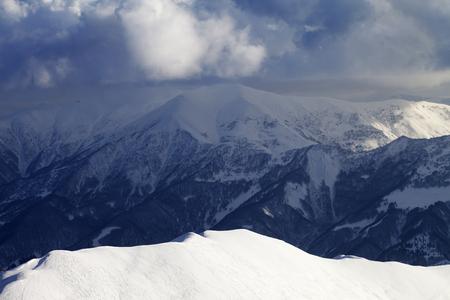 offpiste: Top view on sunlit off-piste slope. Caucasus Mountains, Georgia, ski resort Gudauri
