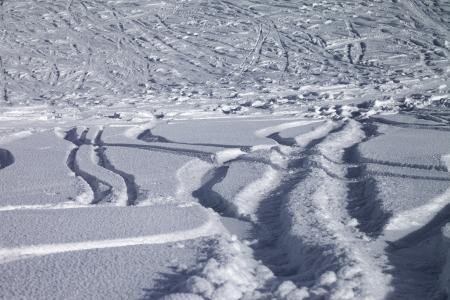 offpiste: Background of off-piste ski slope, new-fallen snow Stock Photo