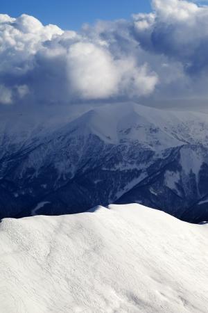 offpiste: Top view on off-piste slope. Ski resort Gudauri. Caucasus Mountains, Georgia.