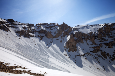avalanche: Snowy mountains with trace of avalanche. Stock Photo