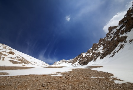 Snowy rocks and blue sky. Turkey, Central Taurus Mountains, Aladaglar (Anti Taurus). Wide angle view. photo