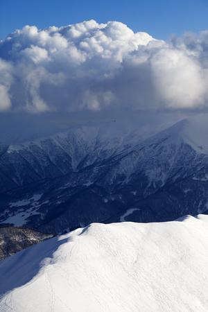 offpiste: Top view on off-piste slope. Caucasus Mountains, Georgia, ski resort Gudauri