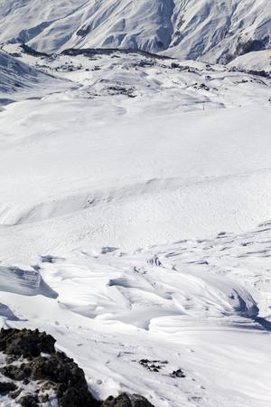 Top view on off-piste slope. Ski resort Gudauri. Caucasus Mountains, Georgia. photo