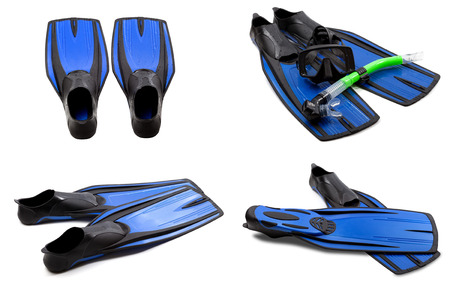 Set of blue swim fins, mask, snorkel for diving with water drops. Isolated on white background. Stock Photo