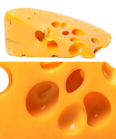 Collage of piece and macro cheeses photo