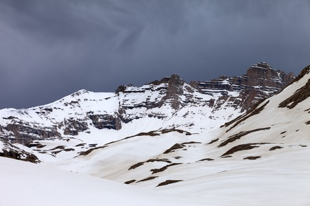 bad weather: Snowy mountains and storm clouds. Turkey, Central Taurus Mountains, Aladaglar (Anti Taurus) plateau Edigel (Yedi Goller)